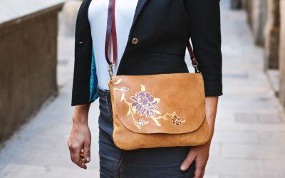tan flower bag