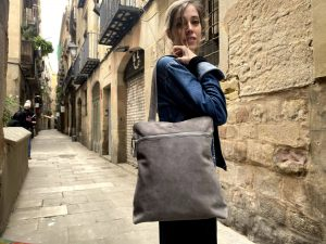 Gray Leather Convertible Tote to Backpack