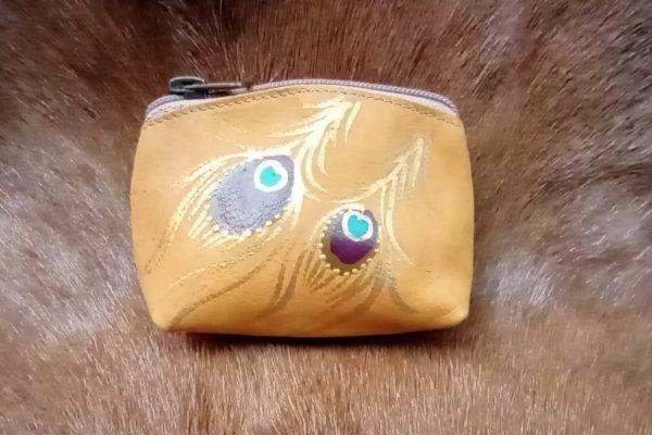 mustard peacock change purse