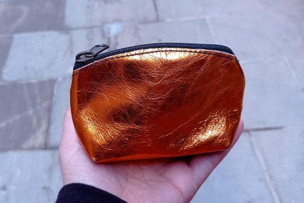 shiny gold change purse