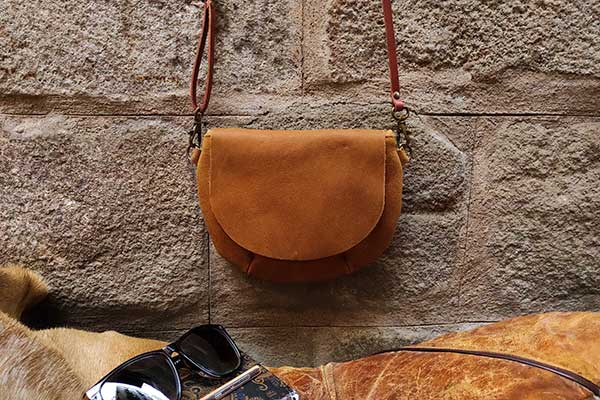tan color leather small bag rossymina