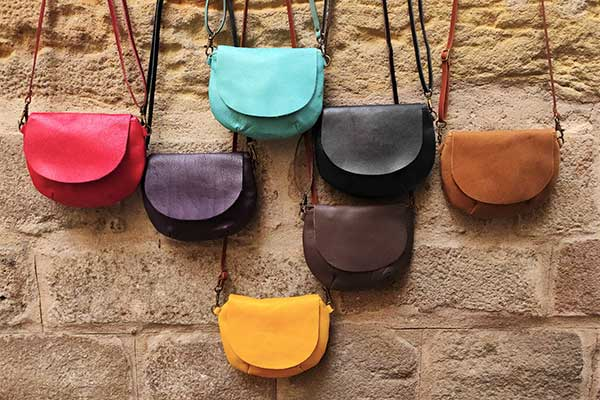 small round leather bags in colors rossymina