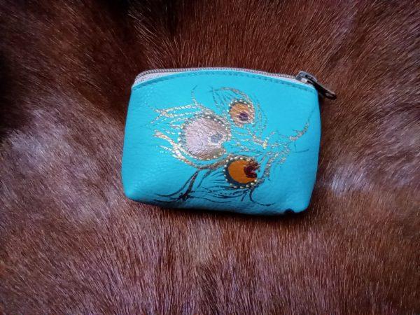 teal peacock change purse