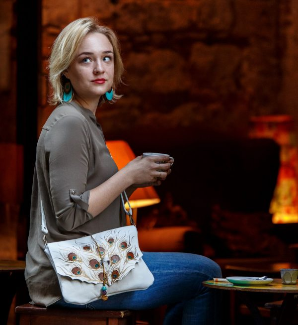 white leahter bag peacock rossymina