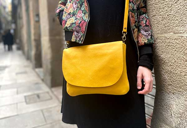 yellow leather bag rossymina